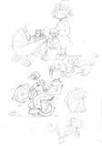 Pencil sketches Mum with pram and baby cat, and little brother in a bike Royalty Free Stock Photo