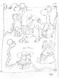Pencil sketches with rat, dog, snake, dinosaur mice Royalty Free Stock Image