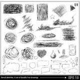 Pencil sketches. A set of doodle line drawings. Vector Royalty Free Stock Photography