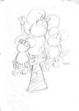 Pencil sketches t like mice mom with her little mice Royalty Free Stock Photos