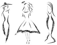 Pencil sketches of women Royalty Free Stock Image
