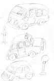 Pencil sketchesday cars and taxis with road signs Stock Photos