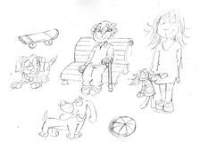 Pencil sketchespencil sketches of little dogs with doll, old upward bench Stock Photo