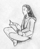 Pencil sketh of a teen girl reading. Hand drawn pencil sketch of a long haired teenage girl sitting on floor with her legs crossed and reading a magazine while Royalty Free Stock Images