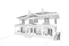 Pencil skissar huset Arkivfoton