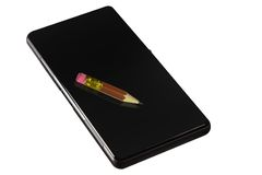 Pencil on the smartphone Royalty Free Stock Photos