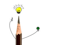 Pencil smiling and light bulb. The concept have idea is Stock Photos