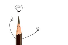 Pencil smiling and light bulb on white, idea concept. Royalty Free Stock Image