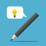 Pencil with speech bubble Royalty Free Stock Images