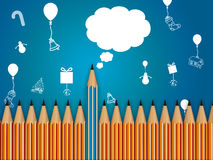 Pencil with speech bubble, celebration background Stock Photography