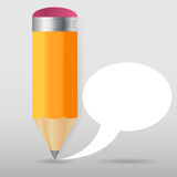 Pencil with speech bubble Vector illustration Stock Photo