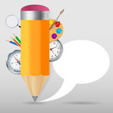 Pencil with speech bubble Vector illustration Royalty Free Stock Photo