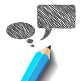 Pencil with speech bubbles Stock Image
