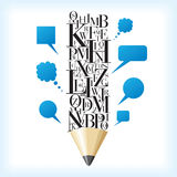 Pencil and speech idea Royalty Free Stock Images