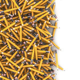 Pencil spill background. 3D render of hundreds of yellow pencils spilling on to white background Royalty Free Stock Photography