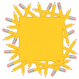 Pencil square template with empty place for text, notice, advertising. Scatter pencils merge into yellow solid area and form square template with free space or Royalty Free Stock Photography
