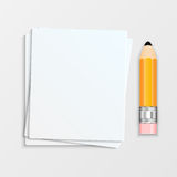 Pencil and a stack of paper sheets Stock Images