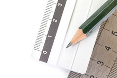 Pencil and Stainless steel ruler Royalty Free Stock Photography
