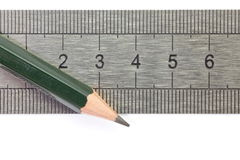 Pencil and Stainless steel ruler Stock Photos