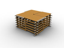 Pencil Stand. 3d rendered image of a stand/table made of pencils Stock Image
