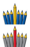 Pencil standing out from others, vector  Stock Image
