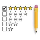 Pencil 5 Stars Rating Stock Photos