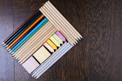 Pencil and sticker rectangles Royalty Free Stock Photography