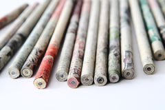 Pencil Sticks. Uniquely printed with chinese characters pencil sticks on white background stock photography