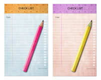 Pencil on Sticky pad check list Royalty Free Stock Image