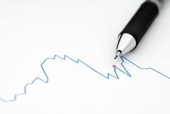 Pencil on a stock Chart. Macro of a pencil on a stock chart stock photography