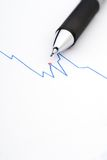 Pencil on a stock chart. Macro of a pencil on a stock chart royalty free stock photo