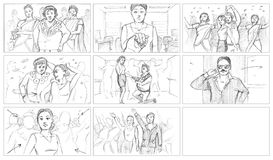 Pencil storyboards. Bollywood pencil storyboards for comedy commercial stock illustration