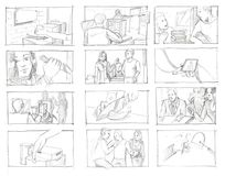 Pencil storyboards. For a series episode royalty free illustration