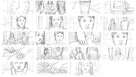Pencil storyboards. About teens visiting doctor royalty free illustration