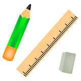 Pencil with straightedge Stock Photo