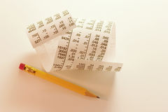 Pencil and Strip of Stock Page Royalty Free Stock Images