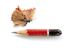 Pencil Stub and Shavings Isolated Stock Photo