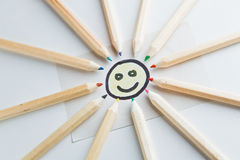 Pencil sun. A smile with pencil ray that made a happy sun Royalty Free Stock Images