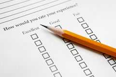 Pencil on Survey Royalty Free Stock Photography
