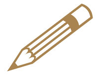 Pencil symbol. Brown pencil symbol on white background Royalty Free Stock Image