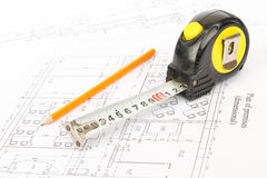 Pencil with tape measure Stock Photo