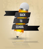 Pencil with text Back to school on ribbon Stock Images