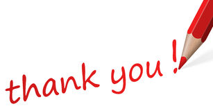Pencil with text thank you. Red pencil with text thank you isolated on white background stock illustration