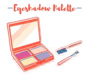 Pencil and textured style orange vector illustration of a beauty utensil eye shadow box palette with a mirror.  stock illustration