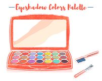Pencil and textured style orange vector illustration of a beauty utensil eye shadow box palette with a mirror.  royalty free illustration