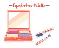 Pencil and textured style orange vector illustration of a beauty utensil eyeshadow box palette with a mirror. Pencil and textured style orange vector stock illustration