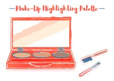 Pencil and textured style orange vector illustration of a beauty utensil highlighting box palette with a mirror.  royalty free illustration