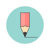 Pencil thin line icon, edit filled outline vector logo illustration, linear colorful pictogram isolated on white stock illustration