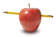 Pencil Thru an Apple on White Stock Image
