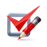 Pencil and tick mark icon. Red pencil and  tick mark  icon  on white background-concept  ilustration Royalty Free Stock Photography